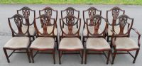 Set of Ten Mahogany Dining Chairs & Matching Extending Dining Table - SOLD
